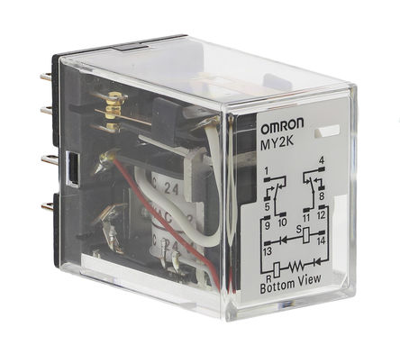 Interlock Relay, DPDT, 24V ac, PCB Mounting, General Applications